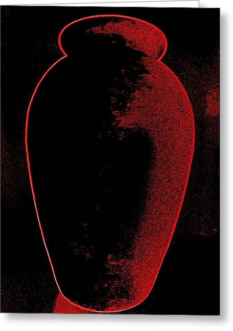 Vase On Black Greeting Card by Randall Weidner
