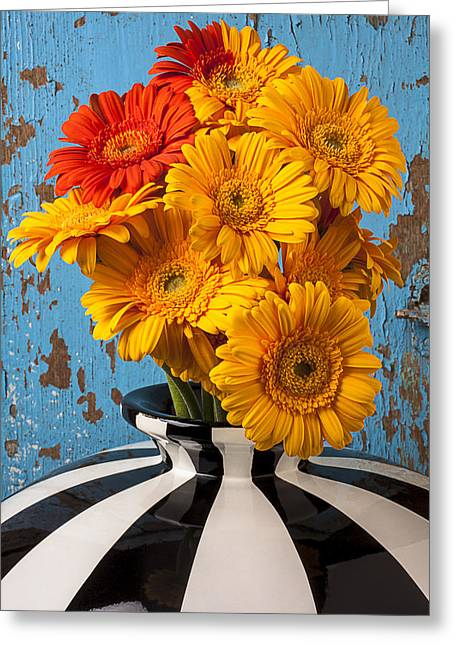Vase With Gerbera Daisies  Greeting Card by Garry Gay