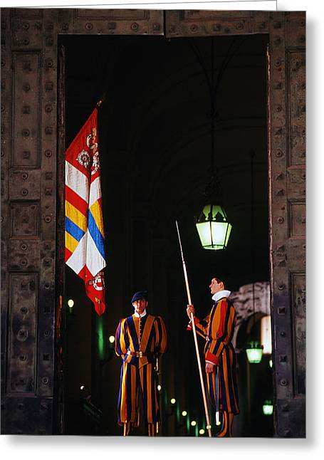 Vatican Swiss Guards Greeting Card by Carlos Diaz