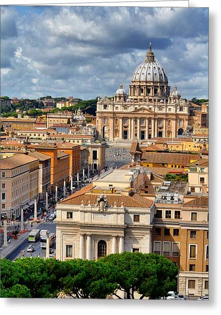 Vatican Vista Greeting Card by Michael Biggs