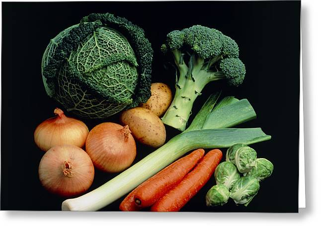 Vegetable Selection Greeting Card by Damien Lovegrove