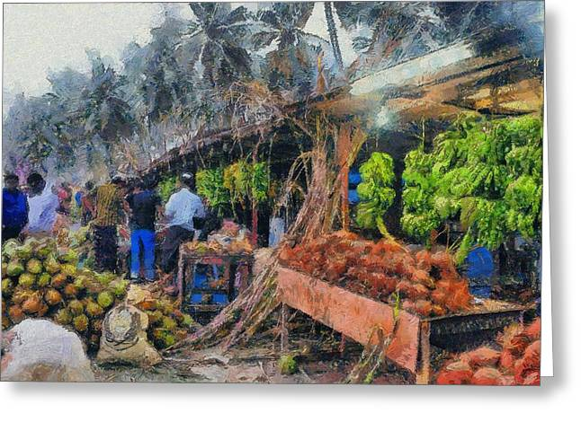 Vegetable Sellers Greeting Card