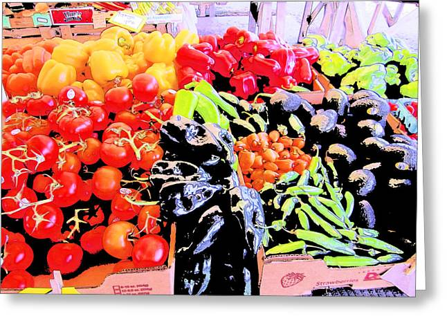 Greeting Card featuring the photograph Vegetables On Display by Kym Backland