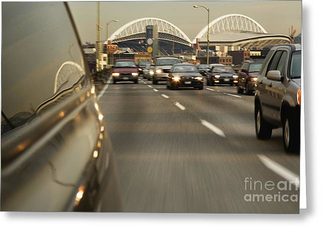 Vehicle On Highway Greeting Card by Ned Frisk