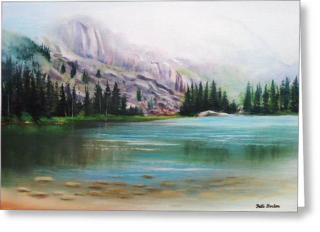 Veil Over Elk Lake Greeting Card by Patti Gordon