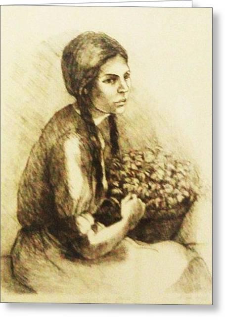 Vendedora De Flores Greeting Card by Riba Wolf