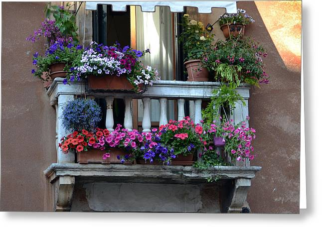 Venetian Balcony Greeting Card by Terence Davis