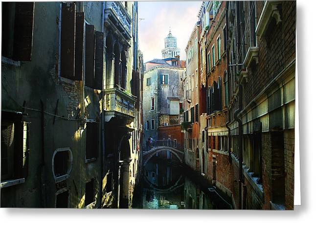 Venetian Canal Greeting Card by Jan Vidra