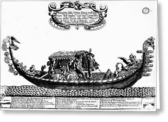 Venetian Gondola, C1689 Greeting Card by Granger