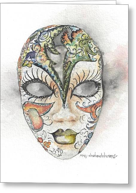 Venetian Mask Iv Greeting Card by Mary Dunham Walters