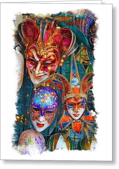 Greeting Card featuring the photograph Venetian Masks by Judy Deist