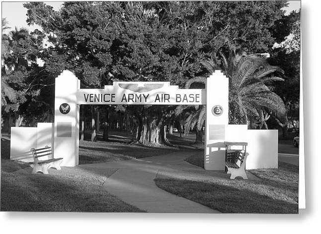 Venice Army Air Base Entrance Greeting Card by John Myers