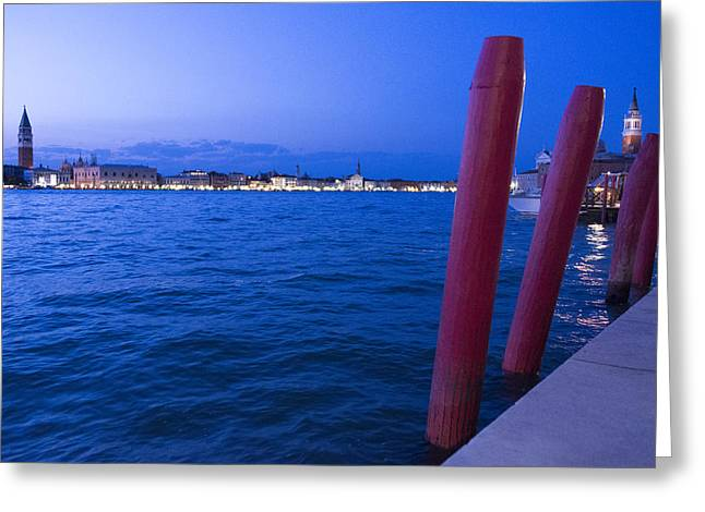 Venice At Sunset Greeting Card by Michel Colinet