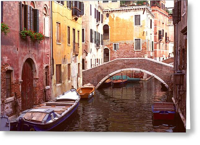 Venice Bridge Over A Small Canal. Greeting Card by Tom Wurl