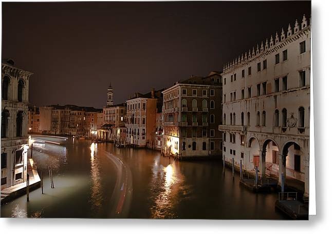 Venice By Night Greeting Card by Joana Kruse