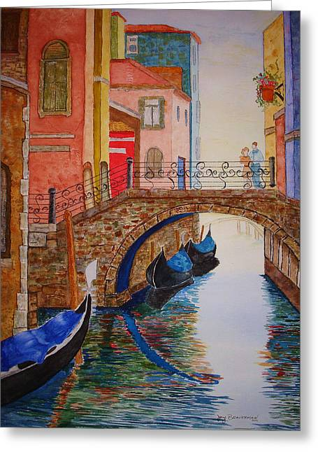 Greeting Card featuring the painting Venice Canal by Joy Braverman