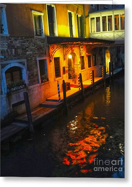 Venice Italy - Canal At Night Greeting Card by Gregory Dyer
