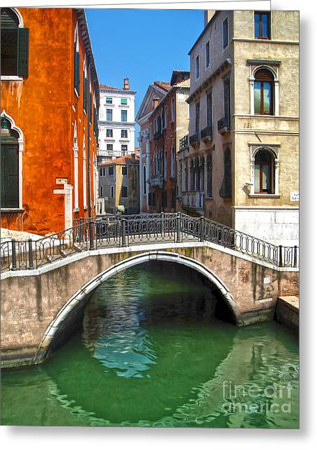 Venice Italy - Canal Bridge Greeting Card by Gregory Dyer
