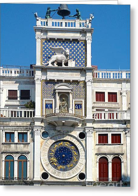 Venice Italy - Clock Tower Greeting Card by Gregory Dyer