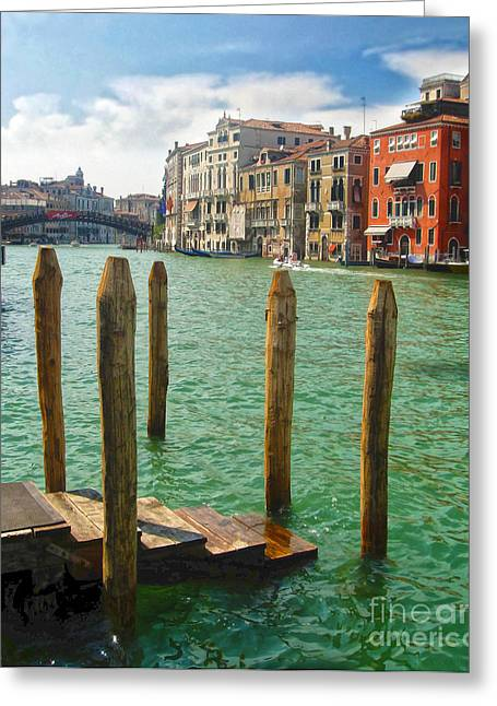 Venice Italy - Grand Canal View Greeting Card by Gregory Dyer