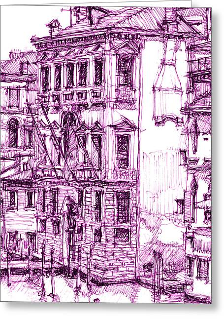 Venice Palace In Purple Greeting Card