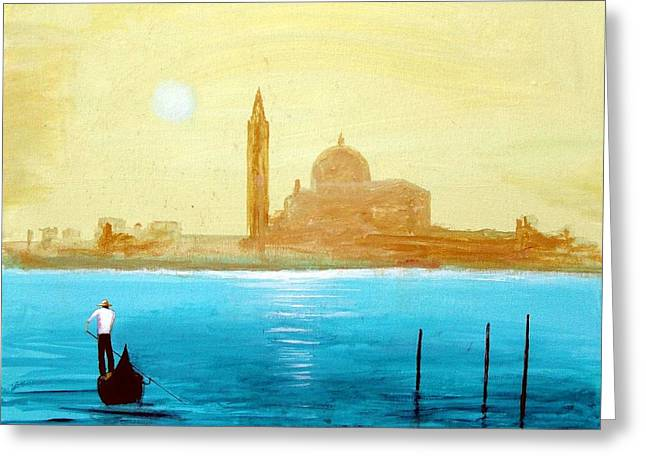 Venice Sunset Greeting Card by Larry Cirigliano