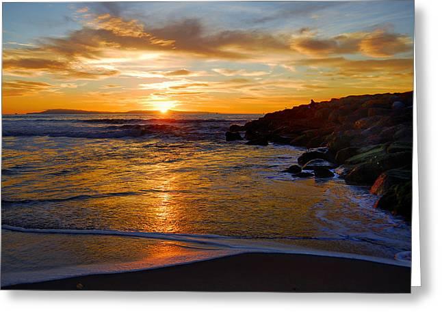 Greeting Card featuring the photograph Ventura Beach Sunset by Lynn Bauer
