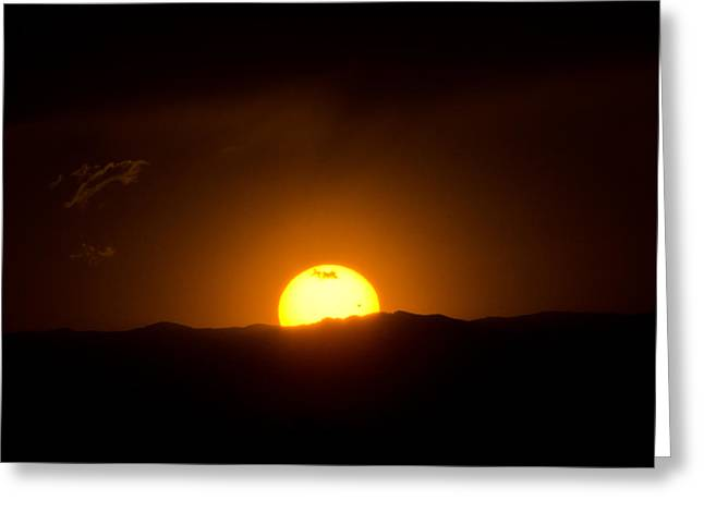 Venus Transit Setting Over The Rocky Mountains Greeting Card