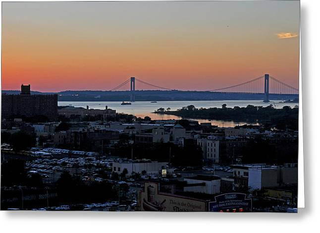 Verazano Sunset Greeting Card by Diane Lent