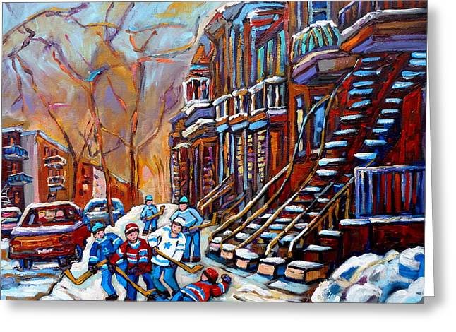 Verdun Street Scene Hockey Game Near Winding Staircases Vintage Montreal City Scene Greeting Card by Carole Spandau