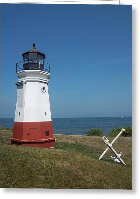 Vermillion Ohio Lighthouse Greeting Card by Gordon Wendling