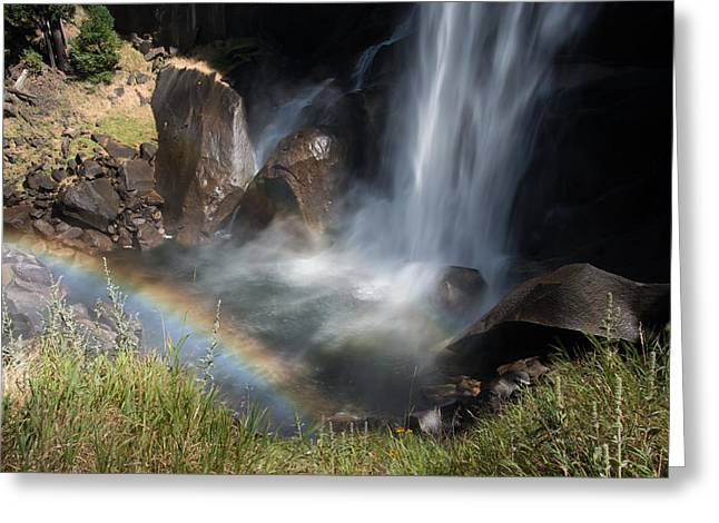 Vernal Falls Rainbow On Mist Trail Yosemite Np Greeting Card