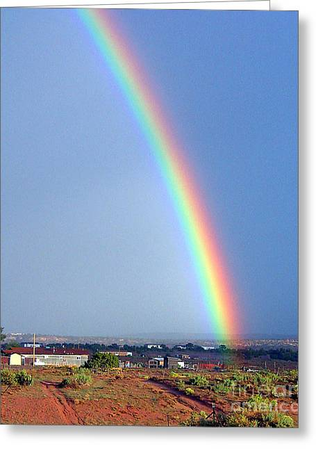 Very Bright Arizona Rainbow Greeting Card by Merton Allen