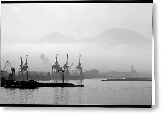 Vesuvius In The Mist. Greeting Card by Terence Davis