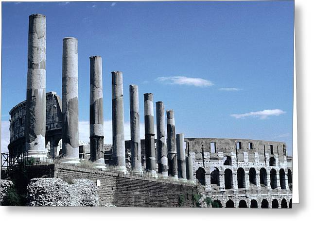Via Sacra Imposing Columns Colloseum Rome Greeting Card by Tom Wurl