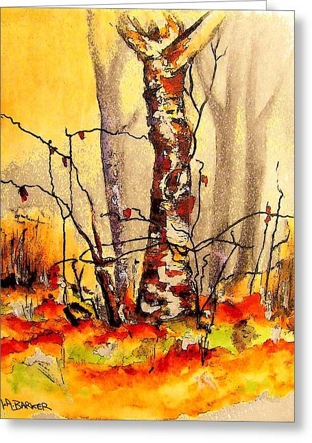 Vibrant Birch Greeting Card by Mary ann Barker