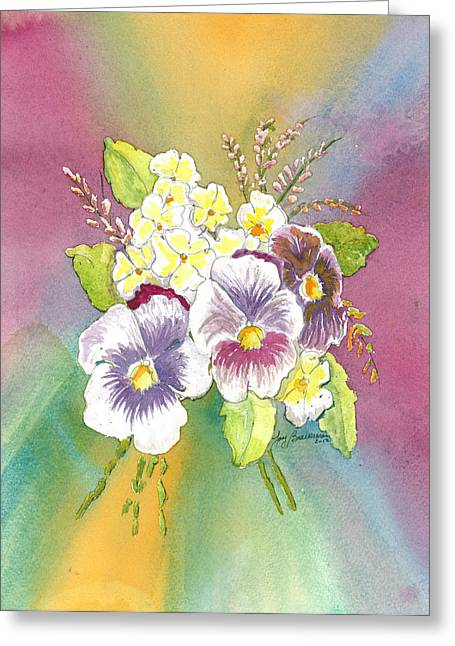 Greeting Card featuring the painting Vibrant Panseys by Joy Braverman