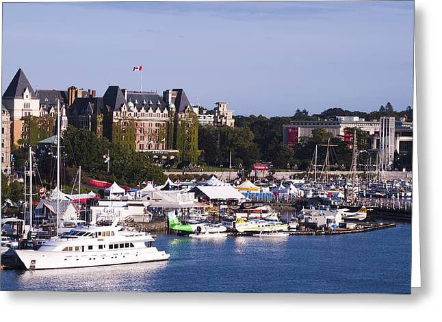 Victoria B.c.'s Inner Harbor Greeting Card by MaryJane Armstrong