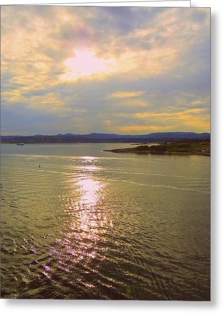 Victoria Harbor Sunset Greeting Card by Randall Weidner