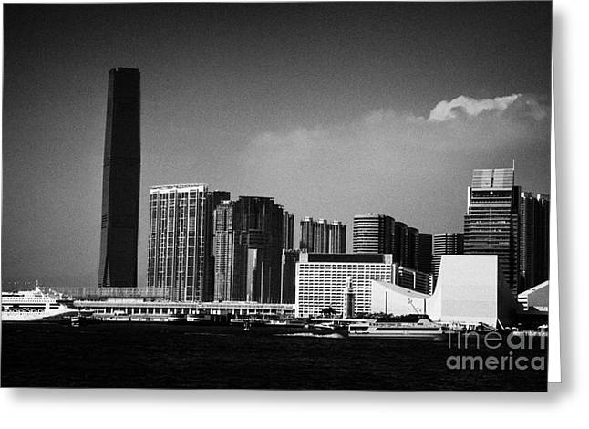 Victoria Harbour View Of Kowloon Tsim Sha Tsui Skyline Including Star Ferry Terminal Hong Kong Greeting Card by Joe Fox