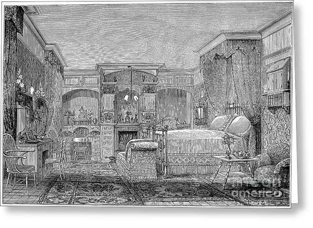 Victorian Bedroom, 1884 Greeting Card