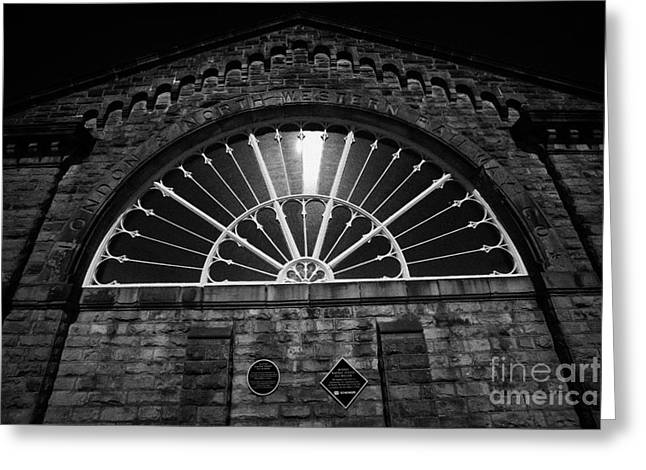 victorian fan window by Joseph Paxton at buxton railway station Buxton Derbyshire England UK Greeting Card