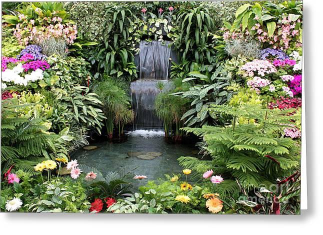 Victorian Garden Waterfall - Digital Art Greeting Card by Carol Groenen