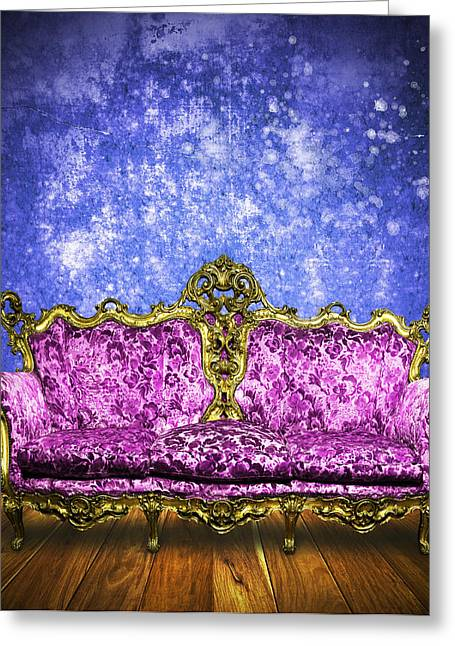 Victorian Sofa In Retro Room Greeting Card