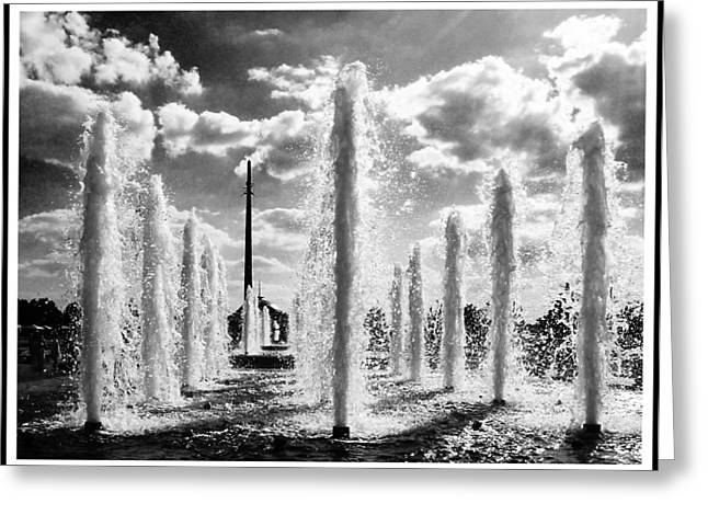 Victory Park Fountains Greeting Card by Mark Britten