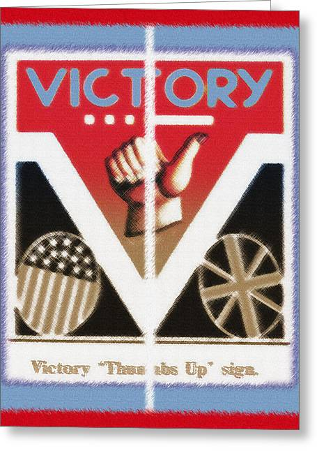 Victory Sign Diptych Greeting Card by Steve Ohlsen