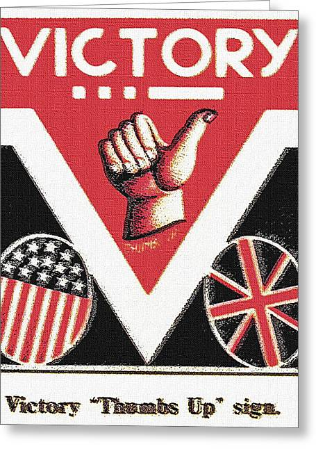 Victory Sign Greeting Card by Steve Ohlsen