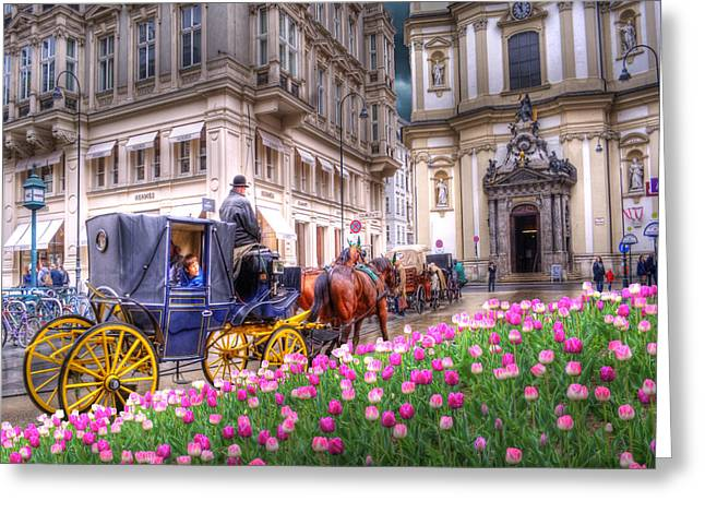 Vienna Fiaker Peterskirche Tulips Greeting Card