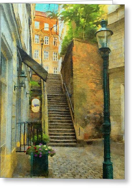 Viennese Side Street Greeting Card by Jeff Kolker