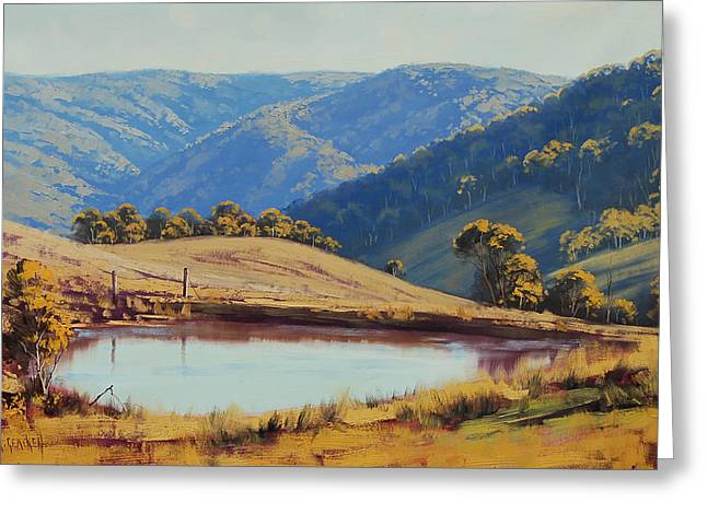 View Across The Dam Greeting Card by Graham Gercken